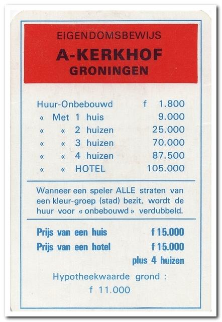 A-Kerkhof eigendomsbewijs uit het Monopoly spel.